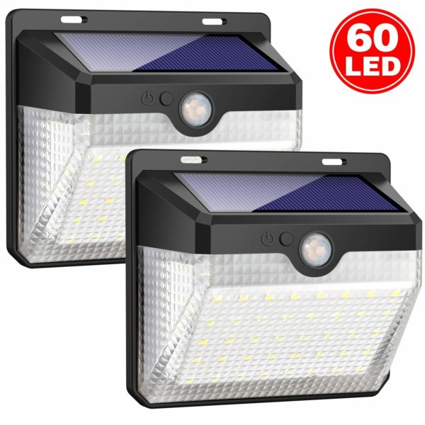 iposible Solar Lights Outdoor, Upgraded [ 2 Pack ] 60 LED Solar Powered Lights 270º Wide Angle Lighting 180° Sensor LED Wireless Waterproof Solar Security Lights Solar Wall Lights 3 Modes for Garden